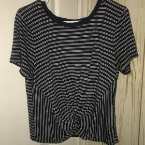 hollister striped tie front top